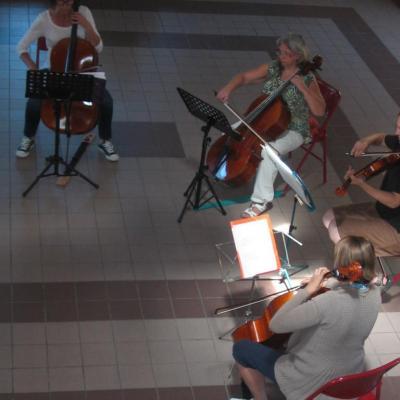 Quatuor de Haydn, répétition à la salle des fêtes
